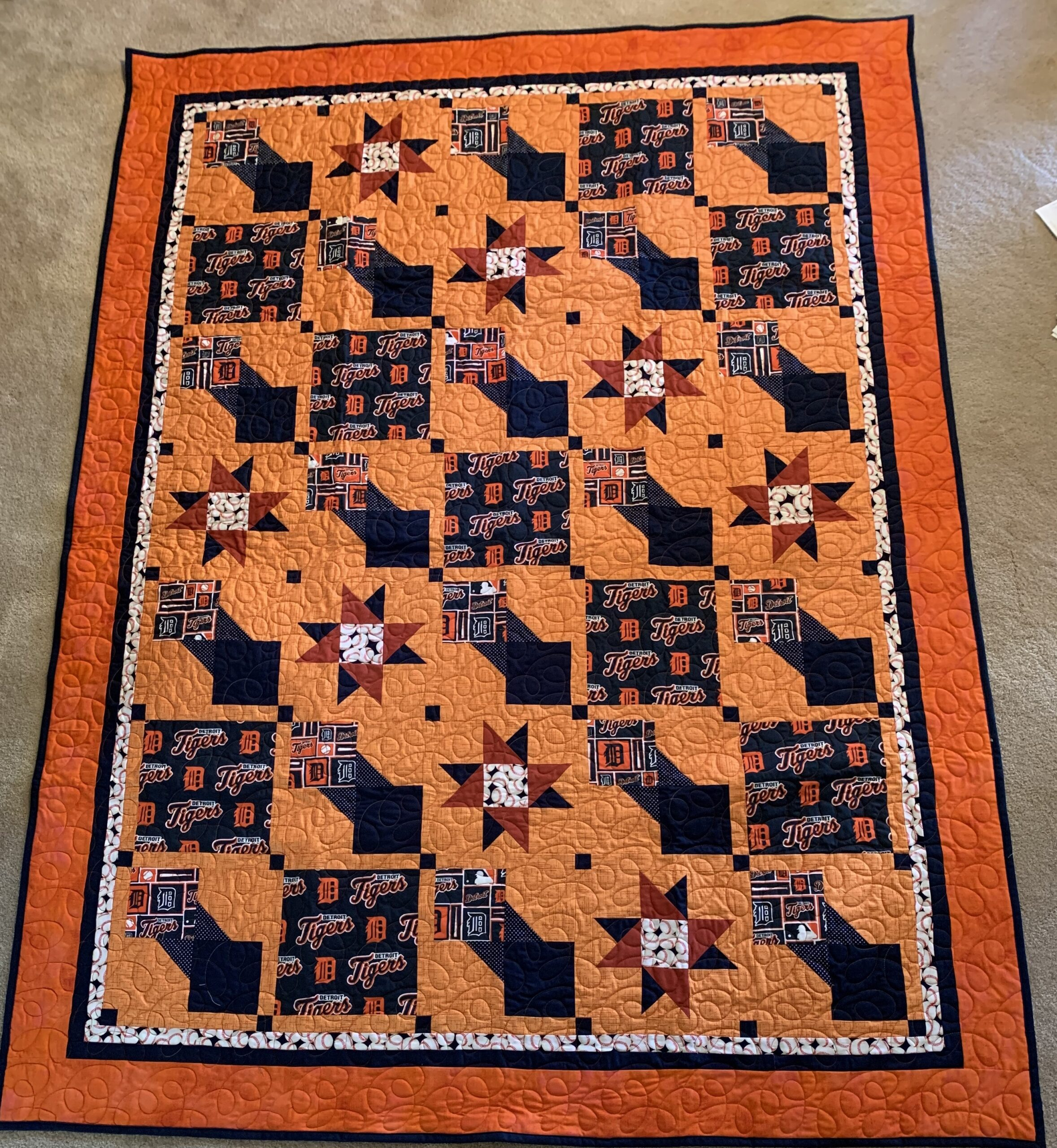 Detroit Tiger Baseball Quilt